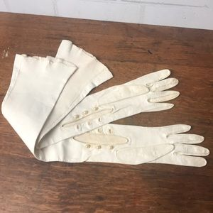 Gloves Leather White Extra Long Vintage Buttons